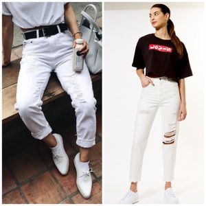 LEVI'S MOM JEANS White Your Mom Distressed High 90